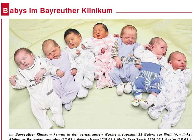 拜罗伊特报纸上的新生儿